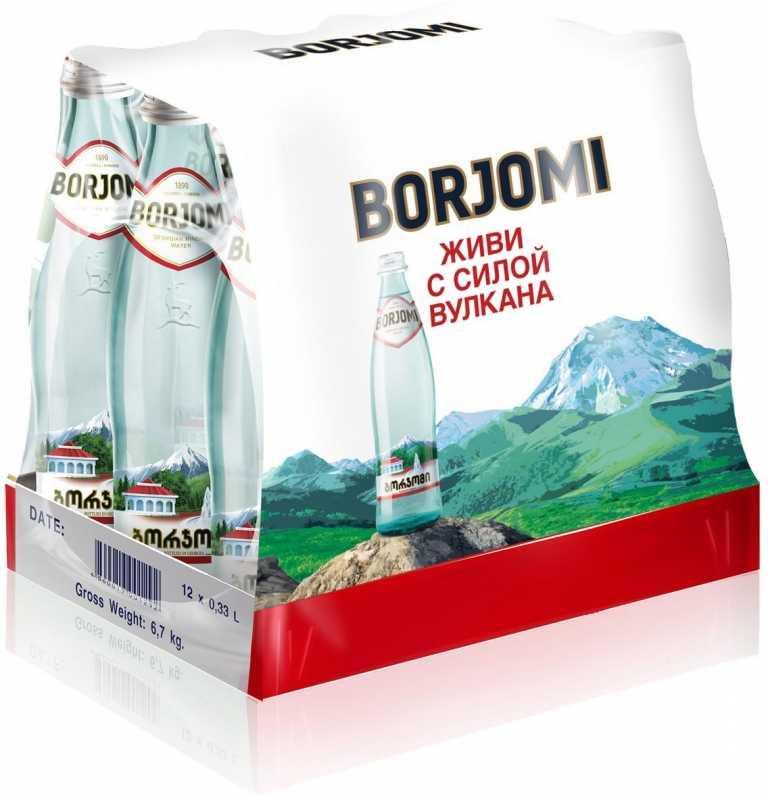 Вода Borjomi минеральная природная газированная стекло, 0,5л, упаковка 12шт