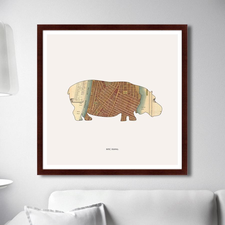 Картина Картины В Квартиру NYC Hippo, 2016г, Бумага цена