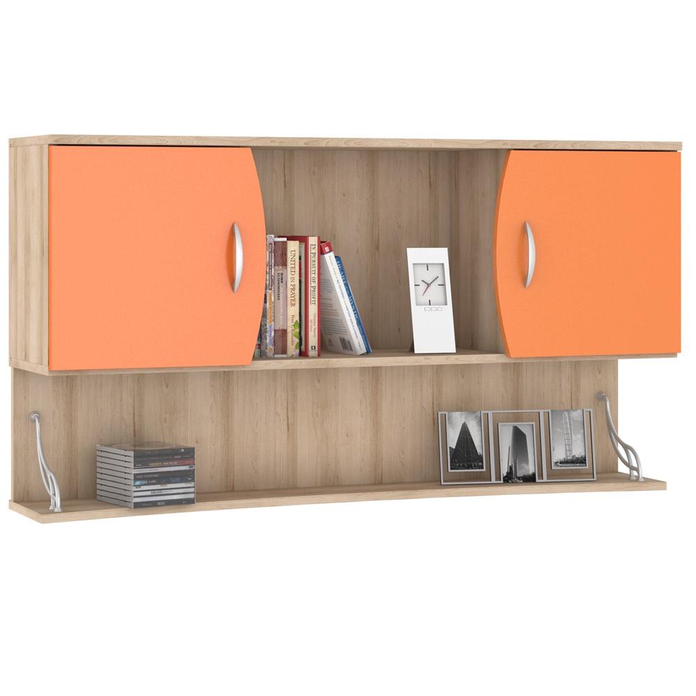 499bf9e2c4fb Шкаф книжный Моби Ника 415 навесной, цвет бук песочный/оранжевый