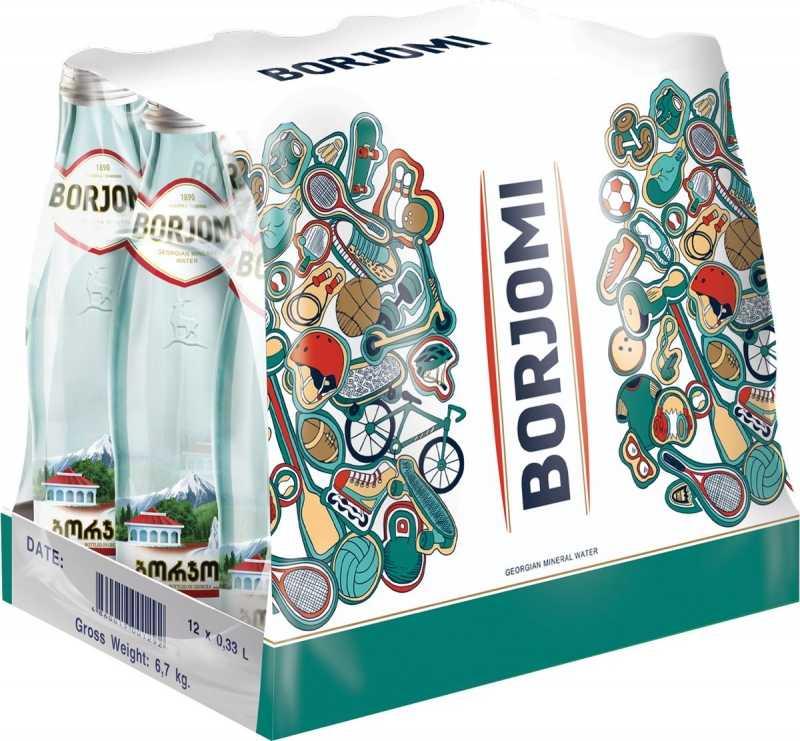 Вода Borjomi минеральная природная газированная стекло, 0,33л упаковка 12шт