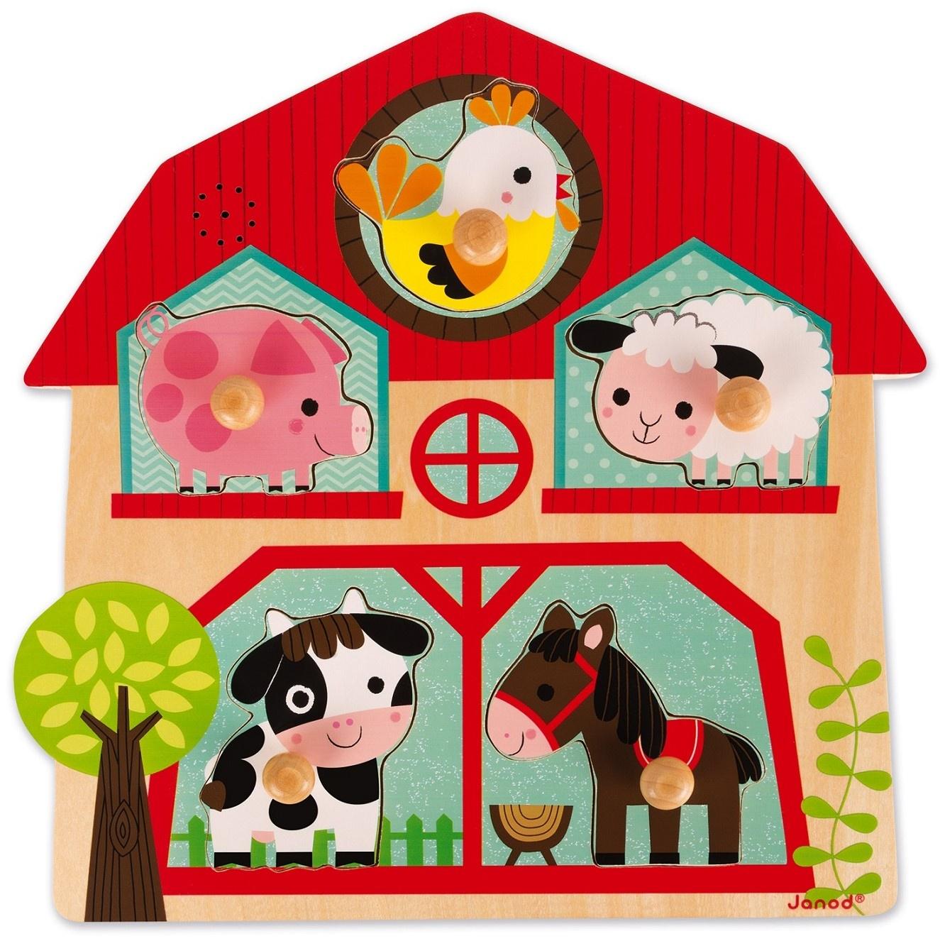 Пазл для малышей Janod J07079 janod пазл домашние животные 5 элементов