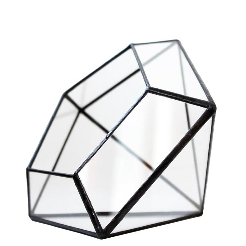 Кашпо FLORS Флорариум Алмаз 10, прозрачный удобрение для суккулентов кактусов алое толстянковых и мол