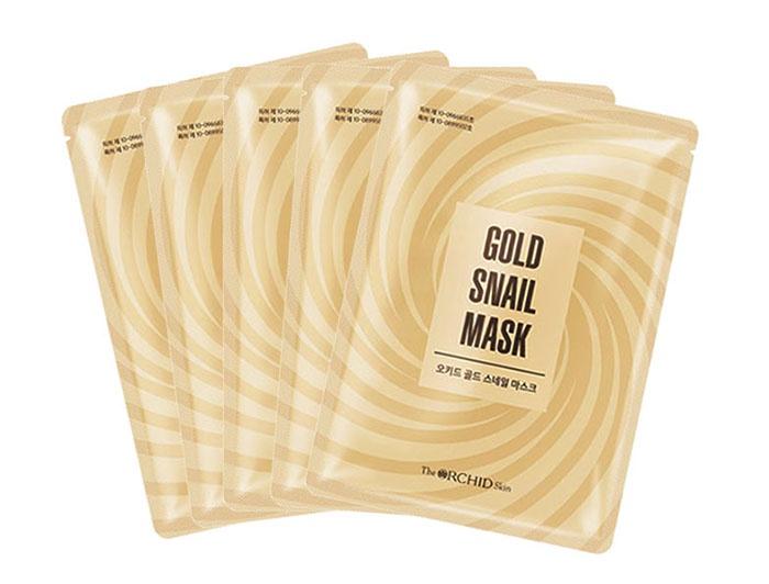 Фото - Тканевая маска с муцином золотой улитки The Orchid Skin Gold Snail Mask (5 шт.) маска д лица cracare регенер с экстрактом слизи улитки 3 шага 40г тканевая