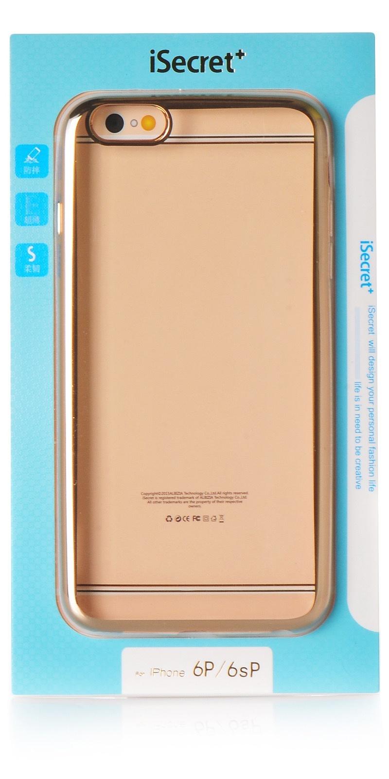 """Чехол для сотового телефона iSecret накладка силикон gold для Apple iPhone 6 Plus/6S Plus 5.5"""", золотой, прозрачный"""