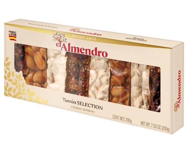 Нуга El Almendro Подарочный набор - Испанская традиционная твердая хрустящая карамелизированная c кунжутом, хрустящая Turron, 200 г