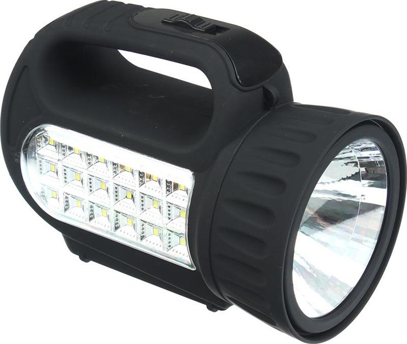 Фонарь-прожектор Чингисхан, аккумуляторный, 18 SMD + 1 Вт LED, 198-041, черный
