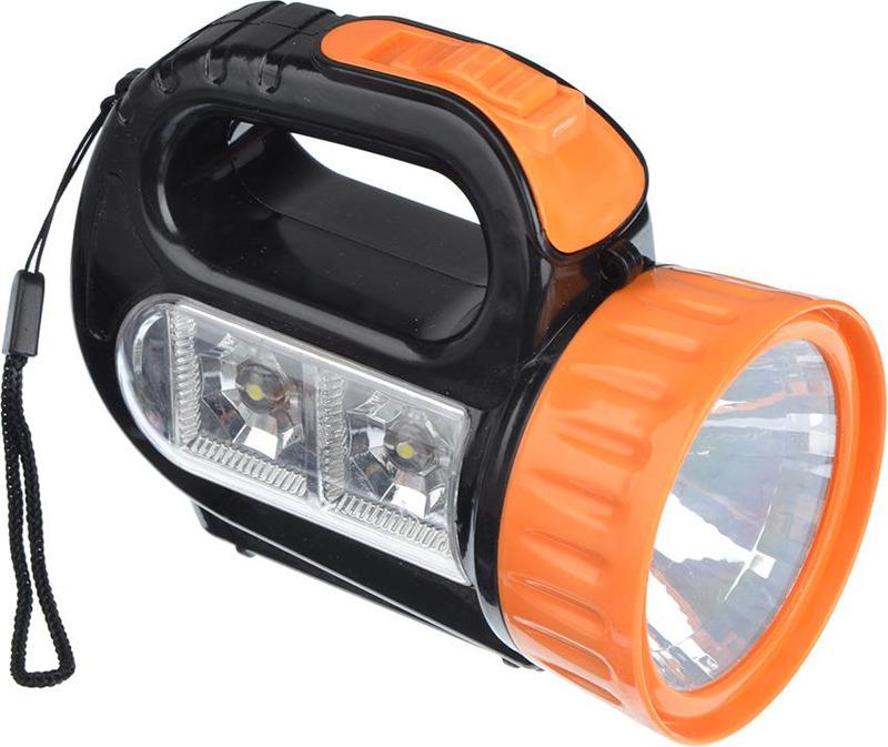 Ручной фонарь Чингисхан, 1 LED + 2 LED, 223-001, черный