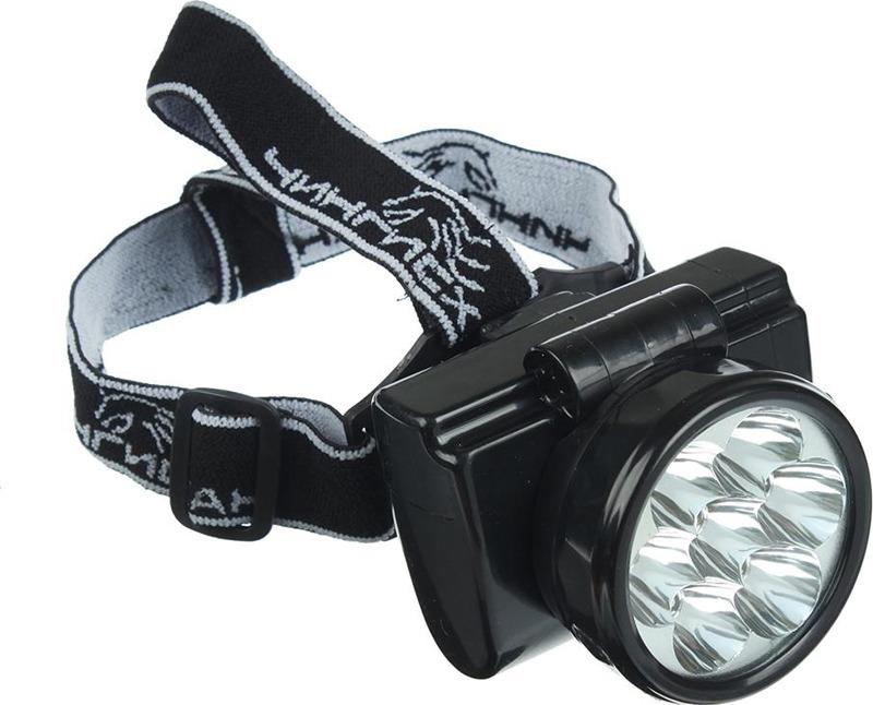 Налобный фонарь Чингисхан, аккумуляторный, 7 LED, 328-048, черный
