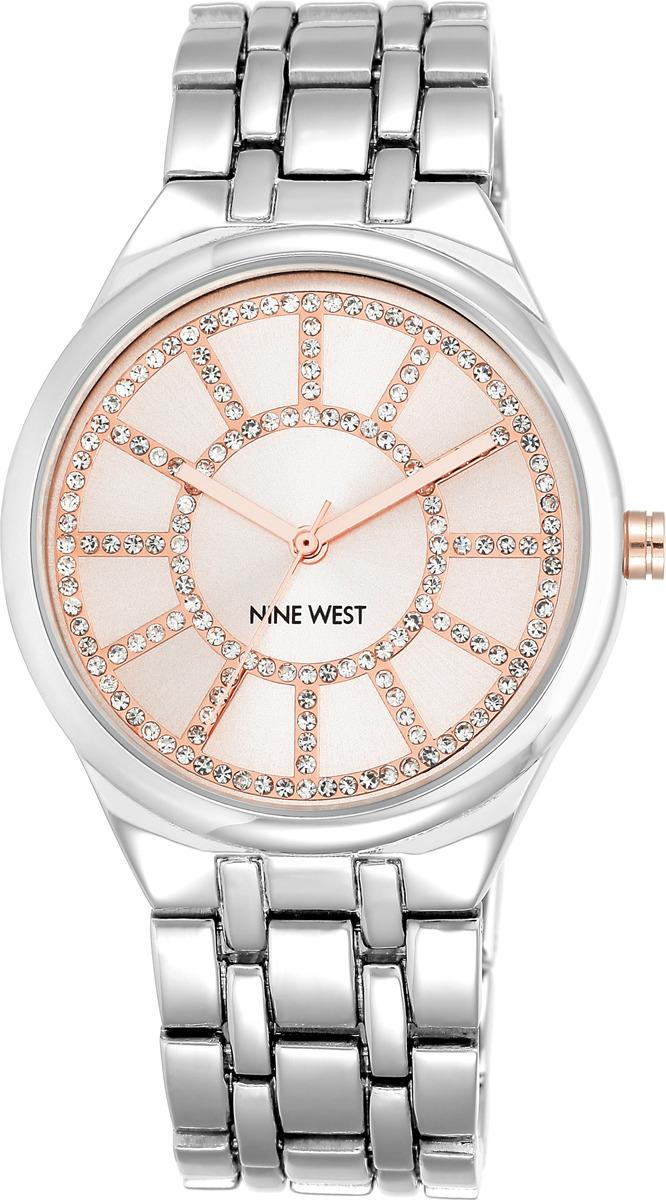 Часы Nine West женские, розовый, серебристый часы nixon time teller deluxe leather navy sunray brow