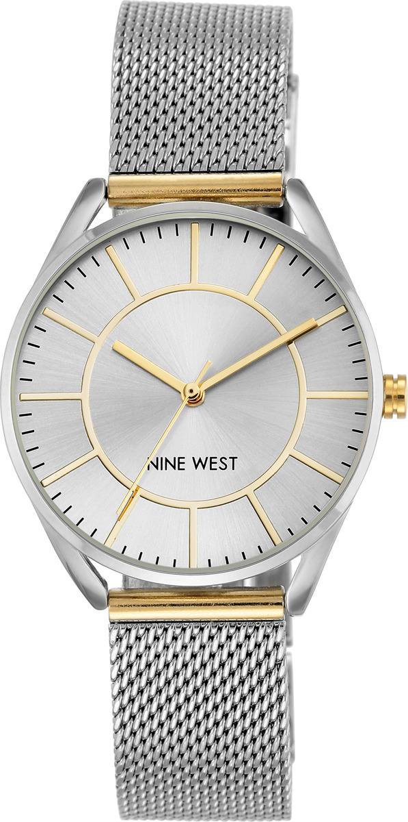 Часы Nine West женские, серебристый часы nixon time teller deluxe leather navy sunray brow