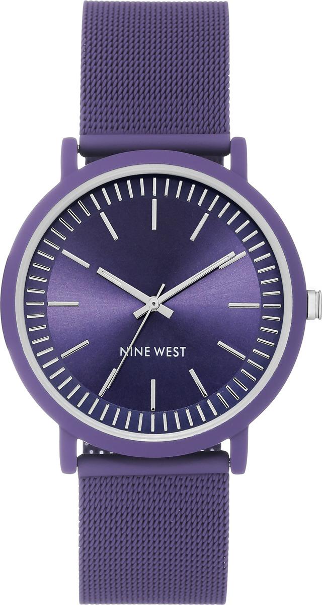 Часы Nine West женские, фиолетовый часы nixon time teller deluxe leather navy sunray brow