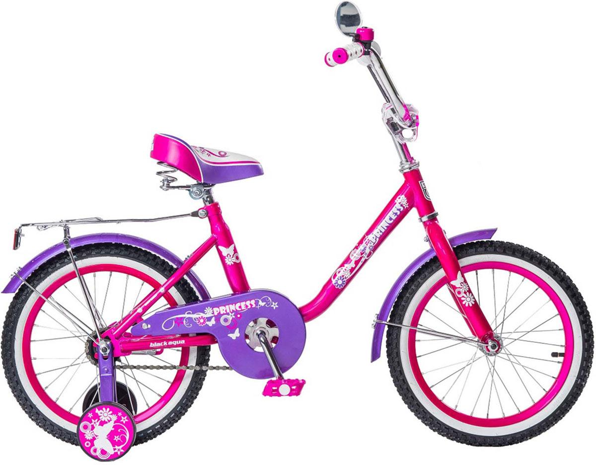 Велосипед детский Black Aqua Princess, KG1202, с ручкой, колесо 12, розовый, сиреневый