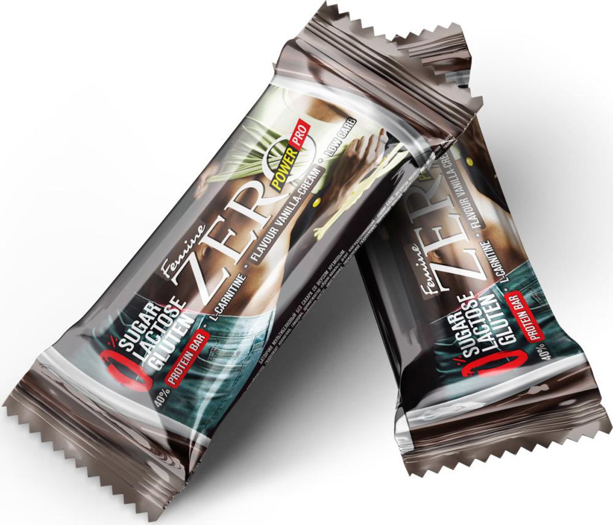 Протеиновый батончик Power Pro Protein Bar Zero Femine мультибелковый без сахара со вкусом Vanilla-Cream, 50 г