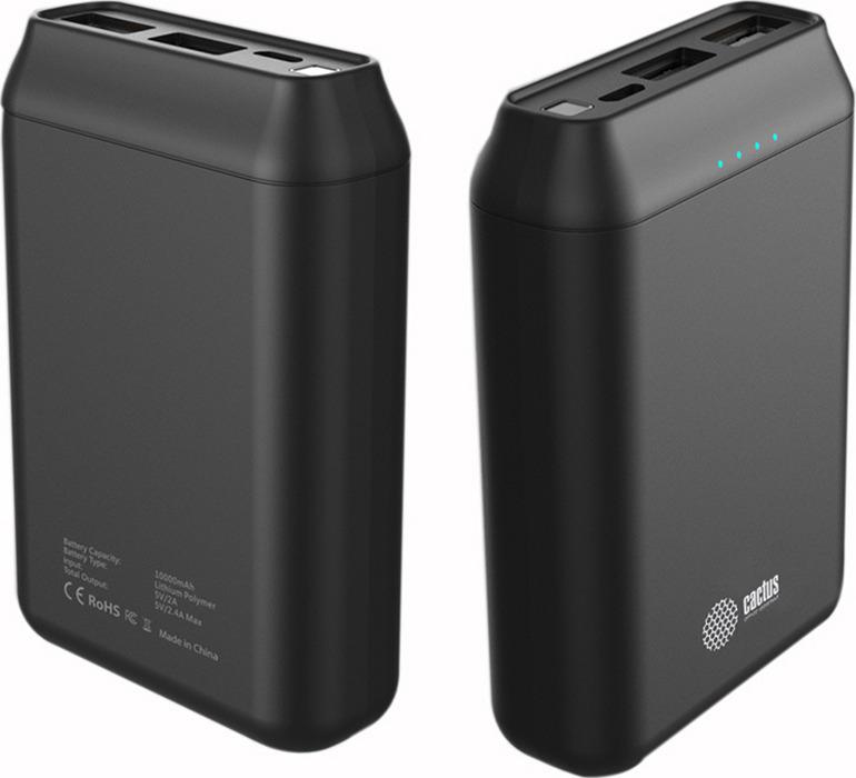 Внешний аккумулятор Cactus CS-PBFSST-10000, 10000 mAh, черный внешний аккумулятор cactus cs pbfsst 10000 10000 mah черный
