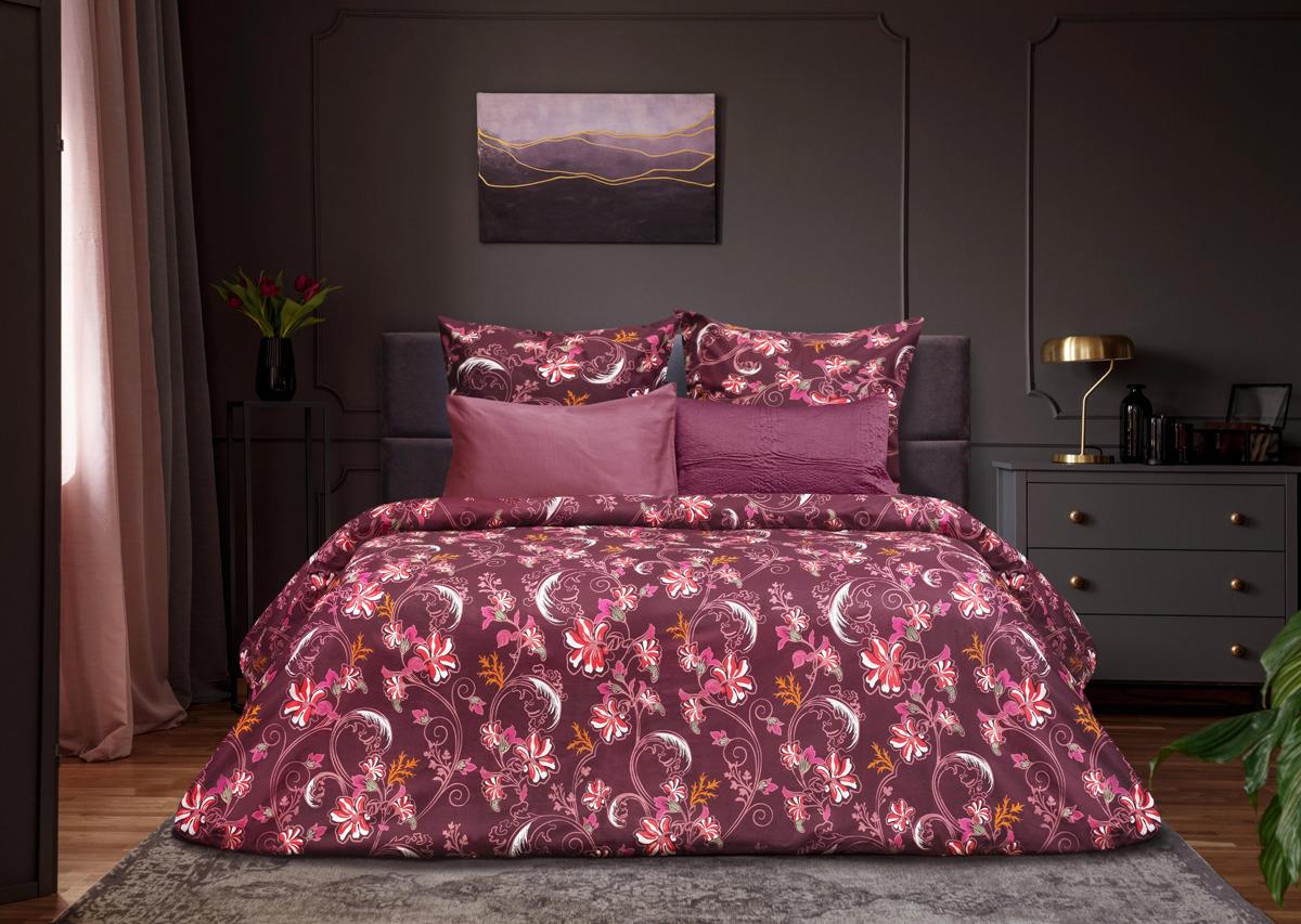 цена Комплект постельного белья Sova & Javoronok Modern Life Модерн, 22030118389, бордовый, евро, наволочки 70x70 онлайн в 2017 году