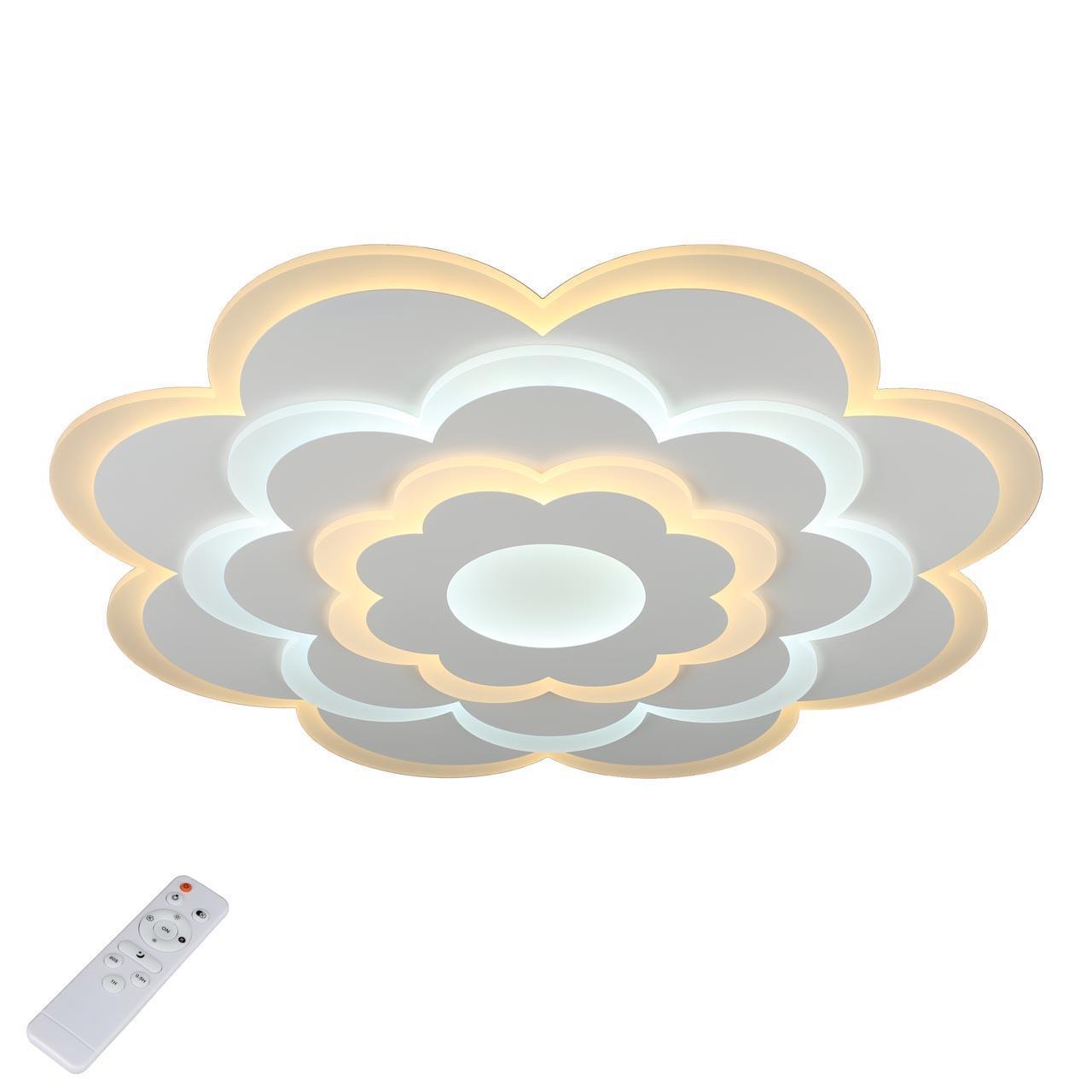 Потолочный светильник Omnilux OML-05107-65, белый потолочный светодиодный светильник с пультом ду omnilux orion oml 43107 60