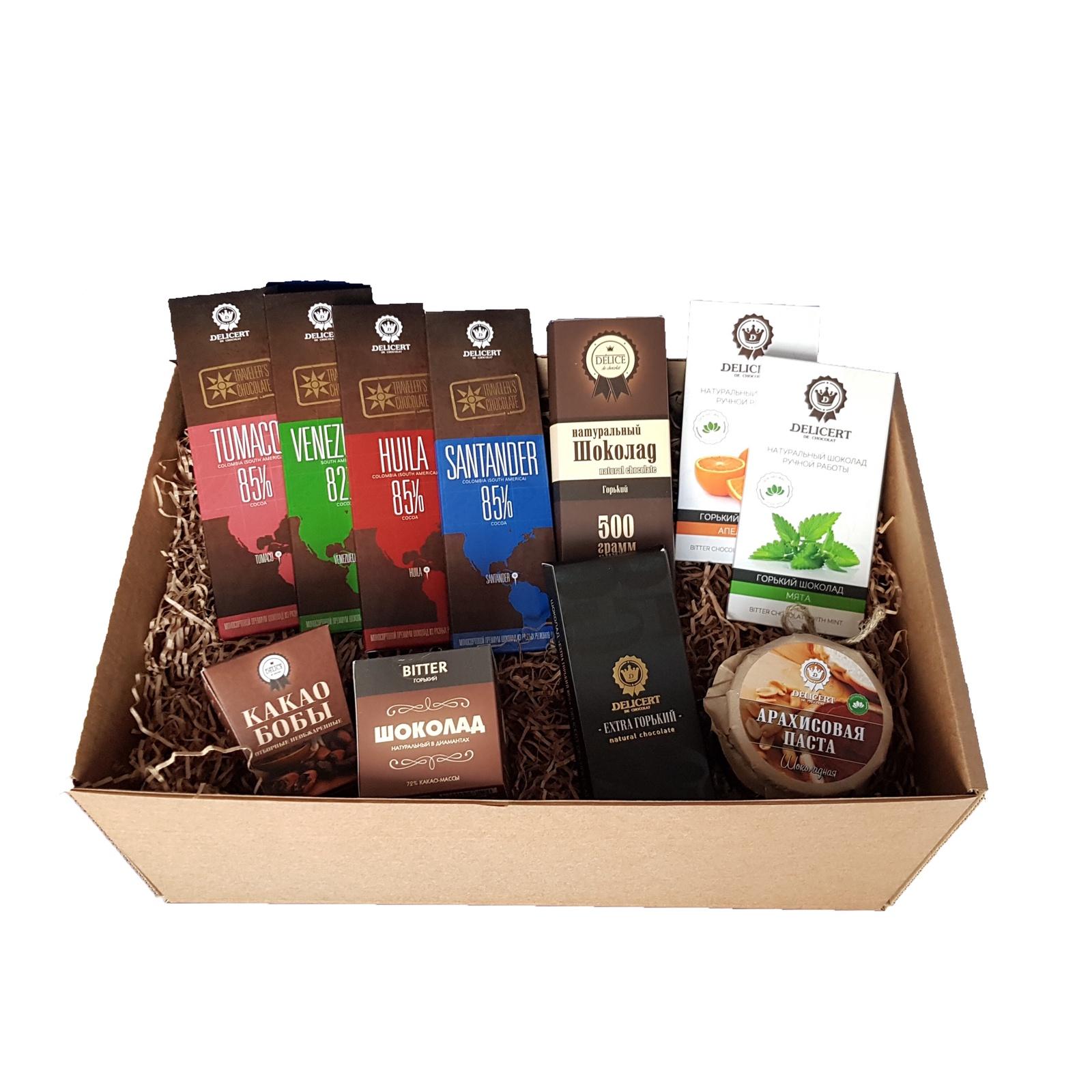 Набор шоколада Delicert de chocolat (горький шоколад) априори горький шоколад 99