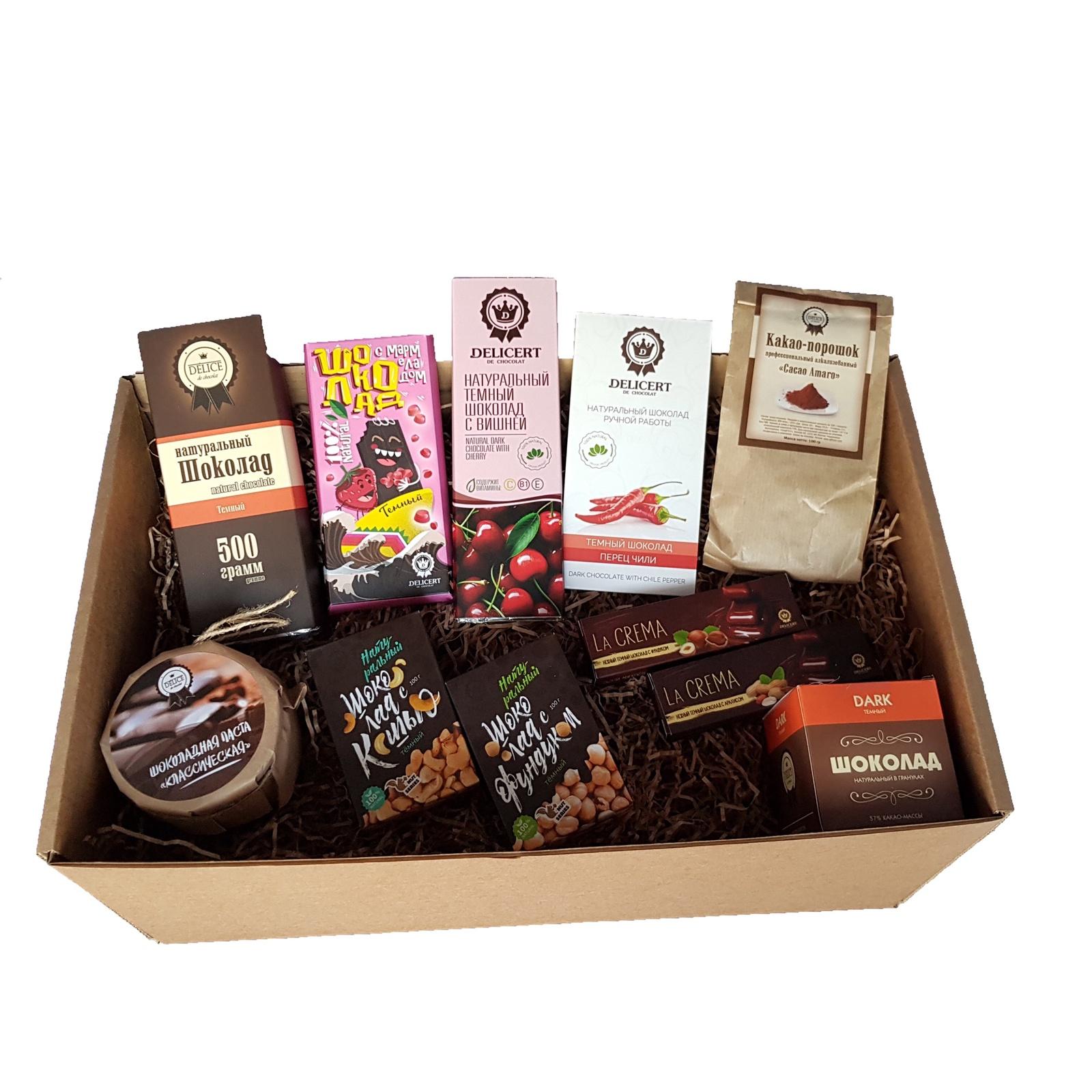 Набор натурального темного шоколада Delicert de chocolat шоколад бабаевский темный с целым фундуком 200г