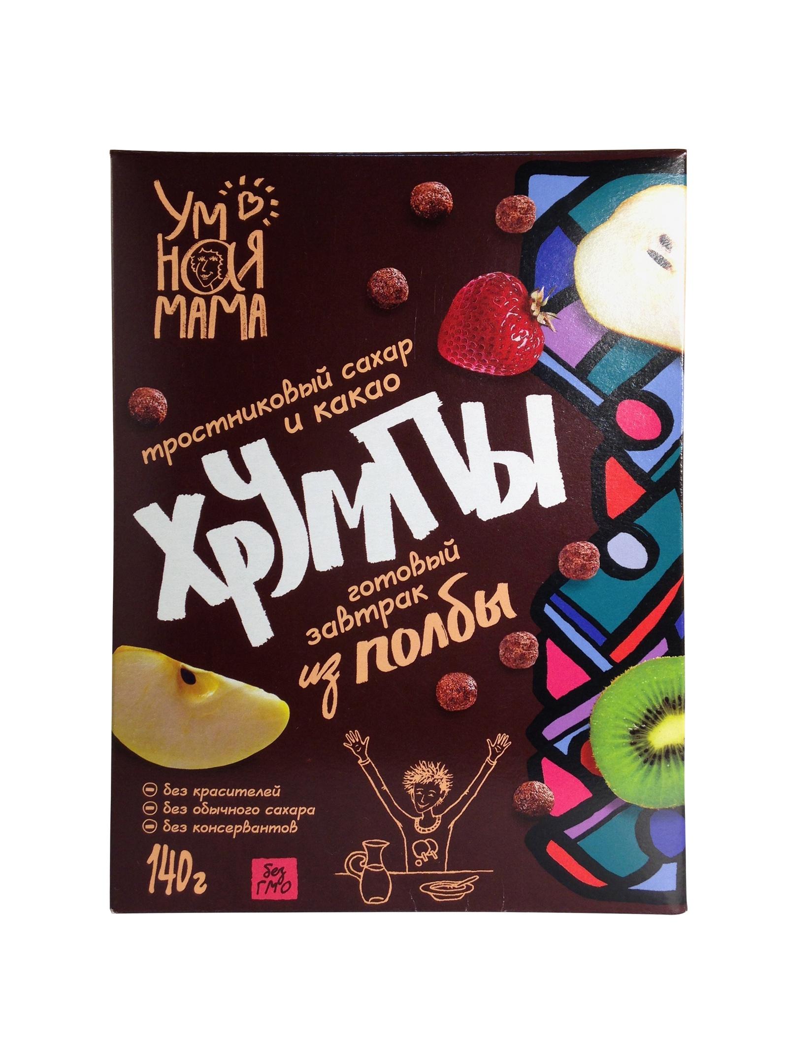 Хрумпы с какао Умная мама готовый завтрак из полбы тростниковым сахаром и какао, 140г