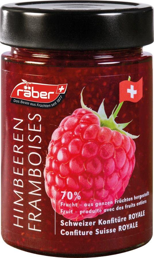 """Джем Raber - швейцарский """"Королевский"""" из малины (70% фруктов) Стеклянная банка, 215 г"""