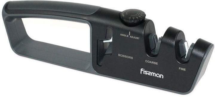 Точило для ножей и ножниц Fissman, двухшаговая заточка, 2801, черный, 26 x 4 x 8 см