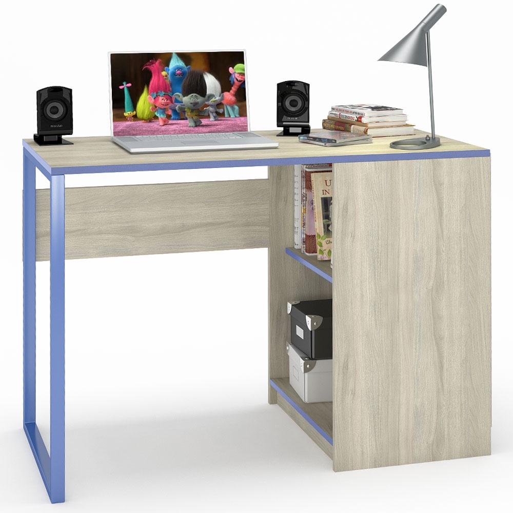 Письменный стол Моби Гольф, цвет вяз либерти светлый/белый матовый/голубой металл