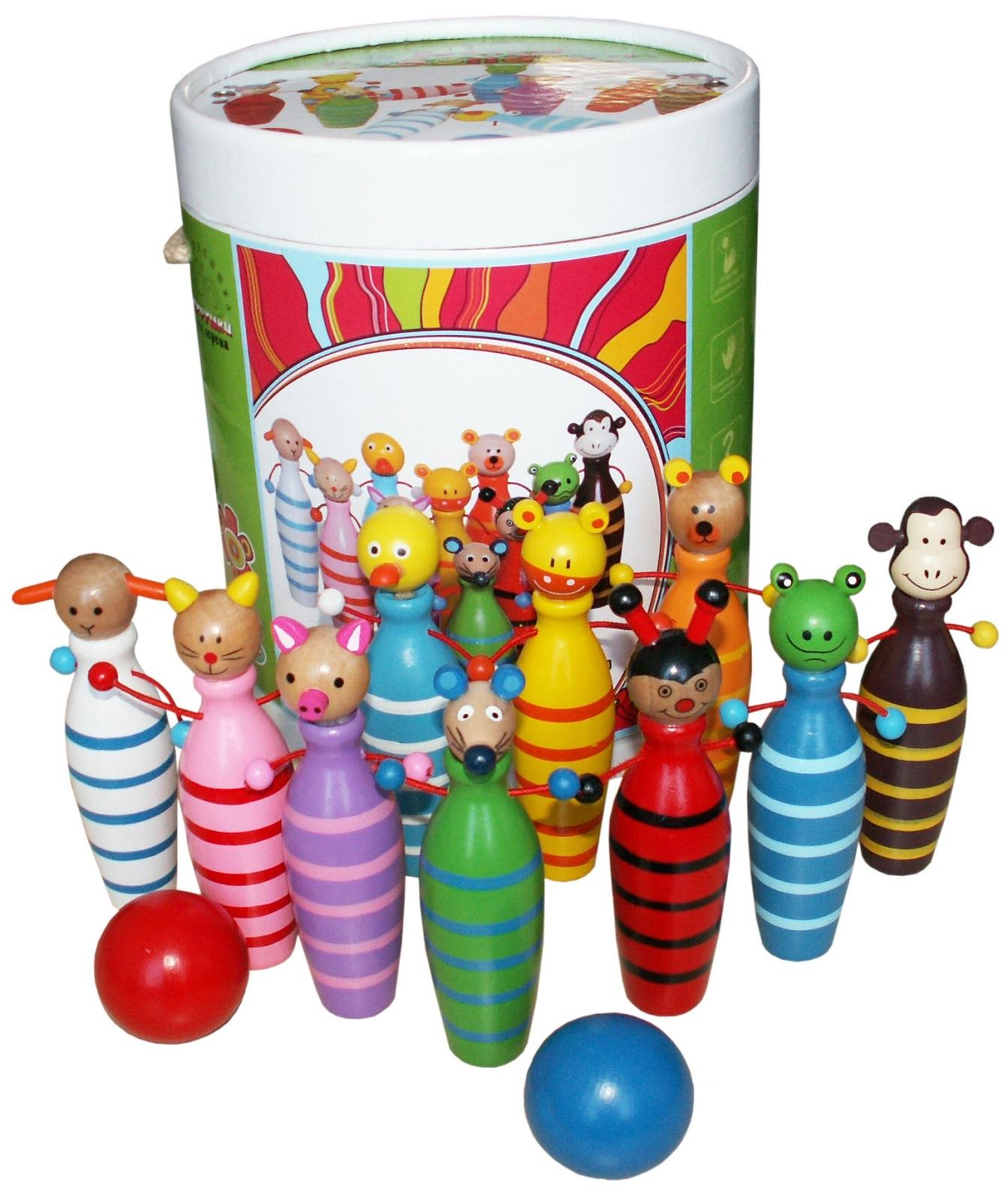 """Развивающая игрушка Развивающие игрушки из дерева Боулинг """"Зоопарк"""""""