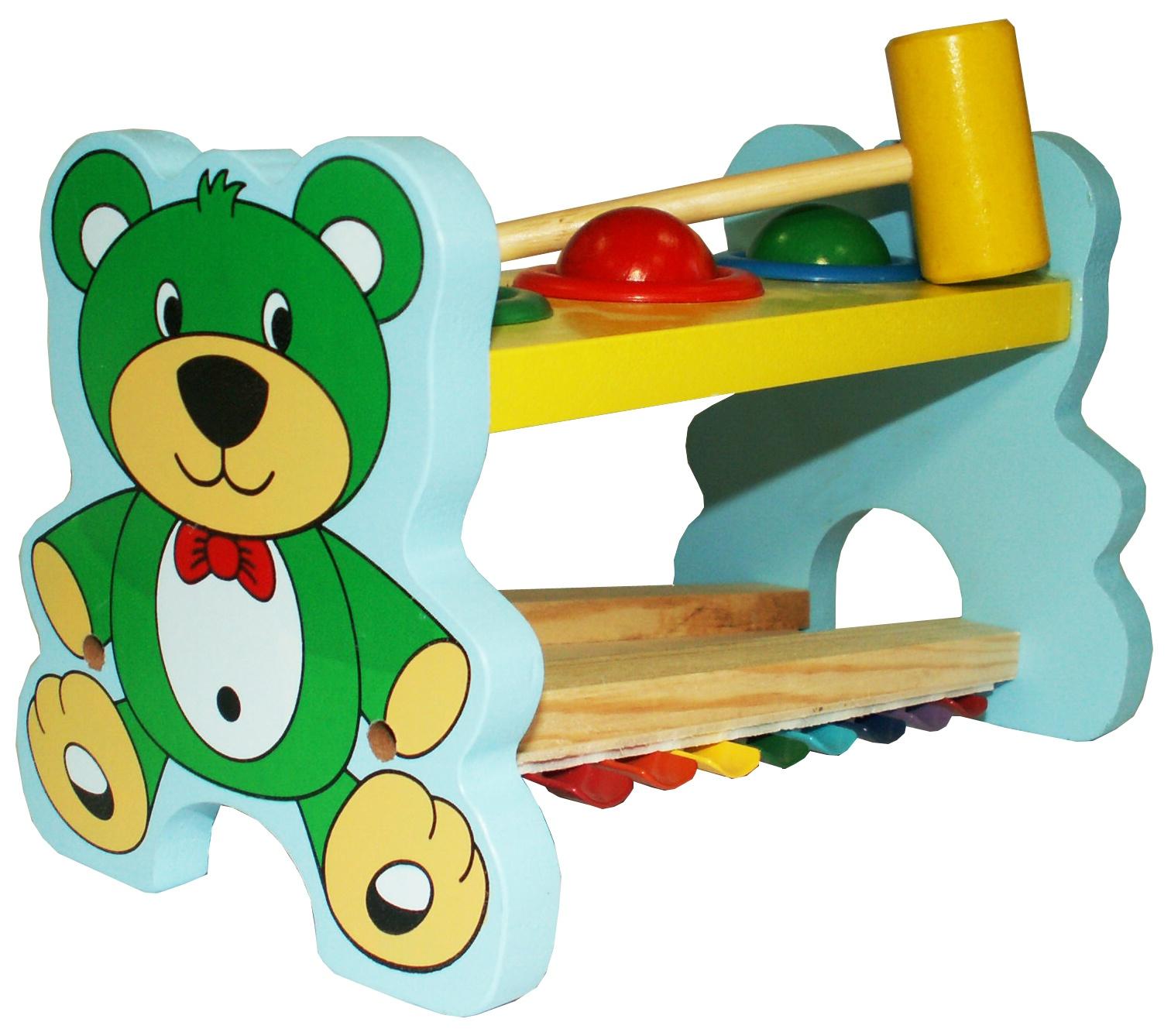 Развивающая игрушка Развивающие игрушки из дерева Стучалка музыкальная Мишка развивающие игрушки lamaze дракончик флип флап