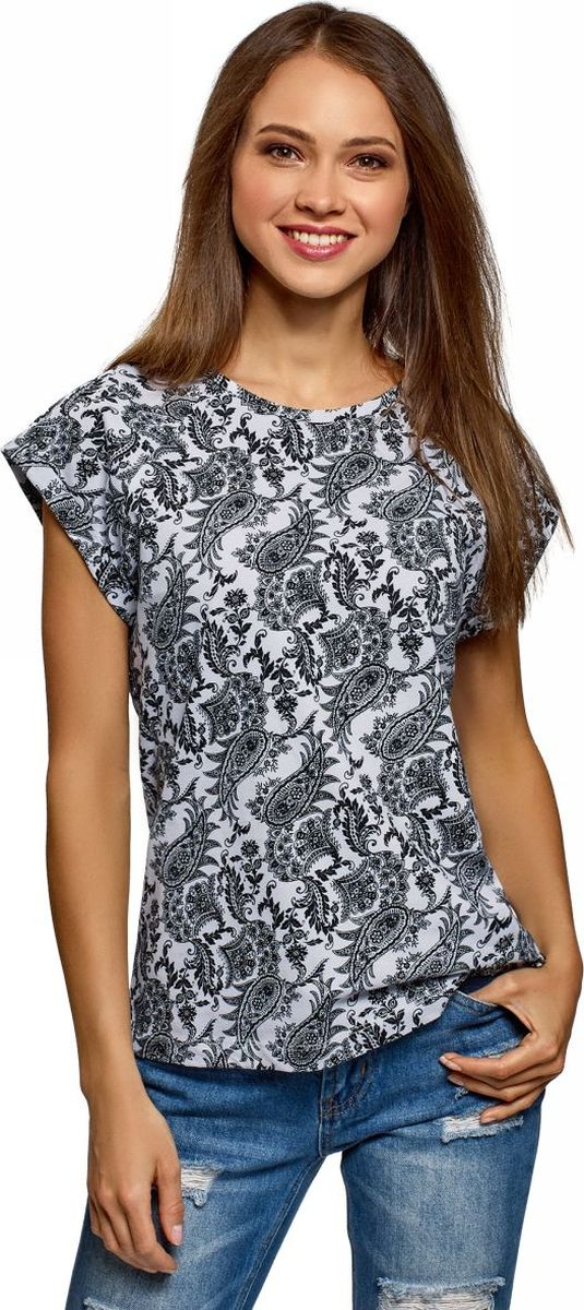 Футболка oodji футболка женская oodji ultra цвет черный голубой 14707001 25 46154 2970f размер xxs 40