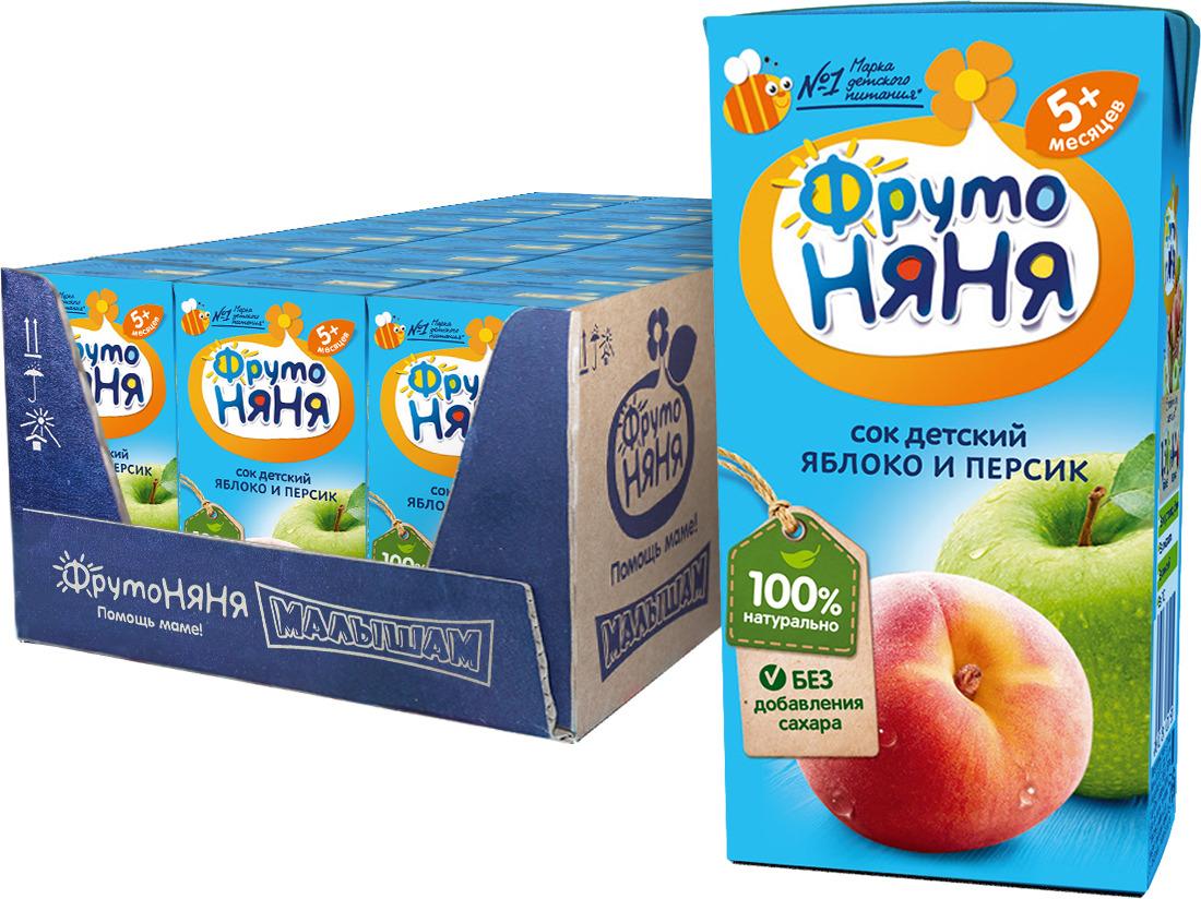 ФрутоНяня сок из яблок и персиков с 5 месяцев, 27 шт по 200 мл