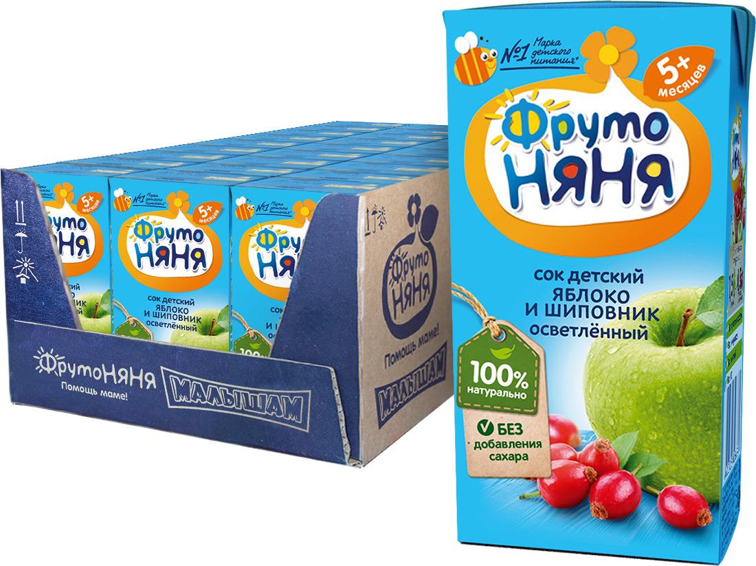 ФрутоНяня сок из яблок и шиповника с 5 месяцев, 27 шт по 200 мл