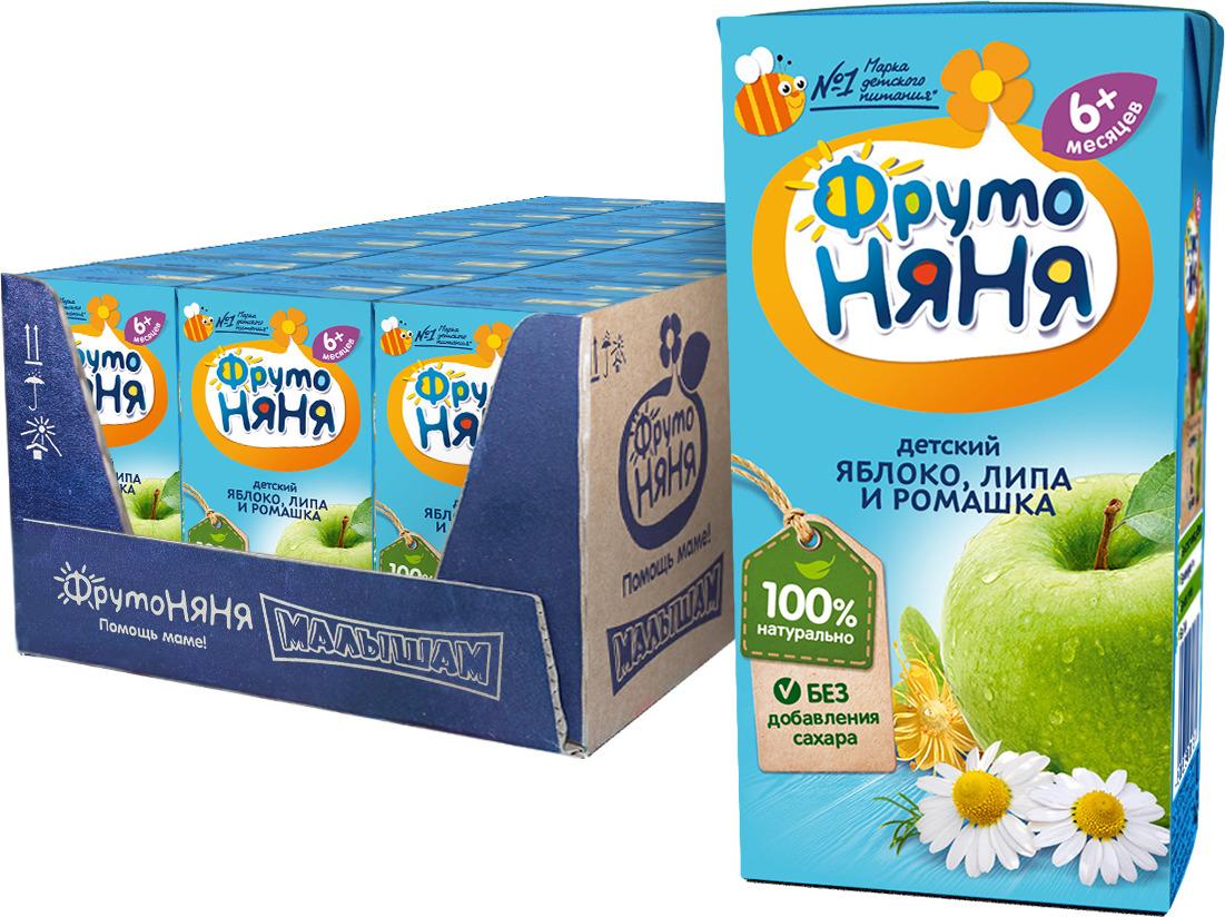 ФрутоНяня сок из яблок с липой и ромашкой с 6 месяцев, 27 шт по 200 мл
