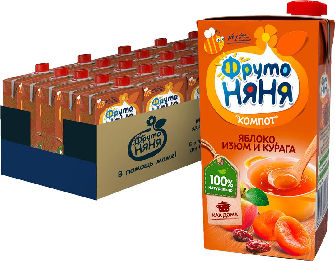 ФрутоНяня 0,5л Напиток сокосодержащий компот из яблок с экстрактом изюма и кураги для питания детей 25 шт компот из вишни и малины фрутоняня 25 шт по 0 5 л
