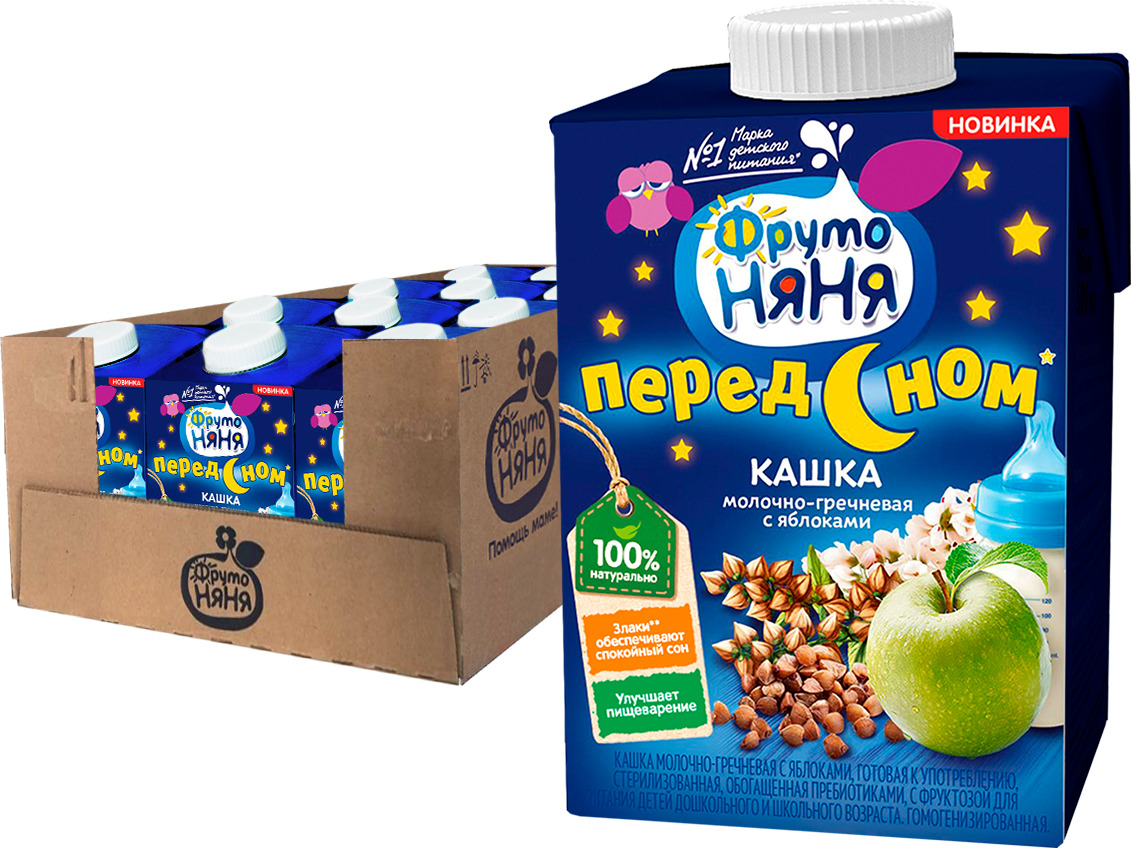 Каша ФрутоНяня молочная, гречневая с яблоком, 12 шт по 500 мл