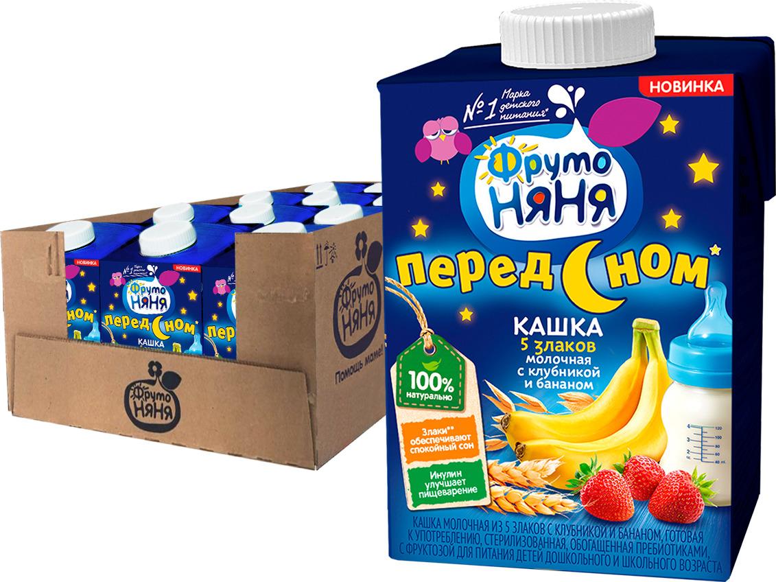 Каша ФрутоНяня молочная, из 5 злаков с клубникой и бананом, 12 шт по 500 мл