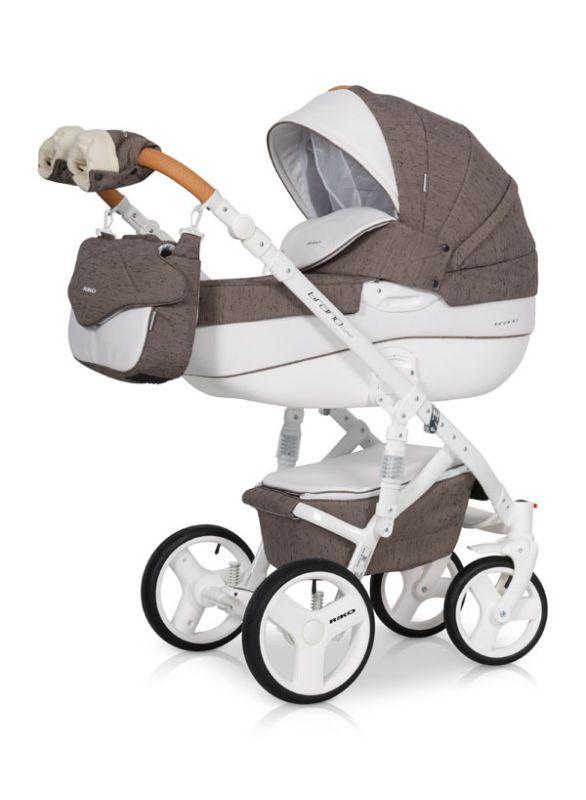 Коляска универсальная Riko BRUNO LUXE 01 Mocca (коричневый) коляска 2 в 1 riko bruno luxe 04 denim