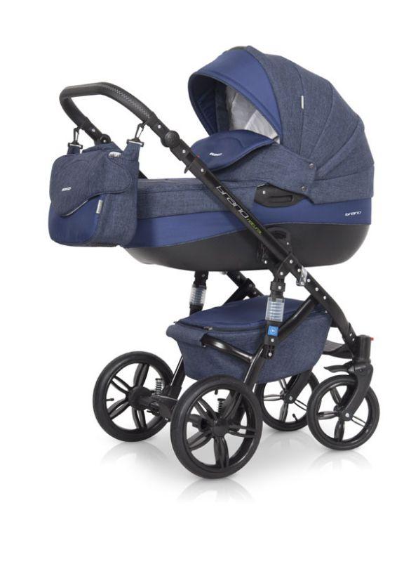 Коляска универсальная Riko BRUNO NATURAL (3-в-1) 01 Denim (синий) коляска 2 в 1 riko bruno luxe 04 denim