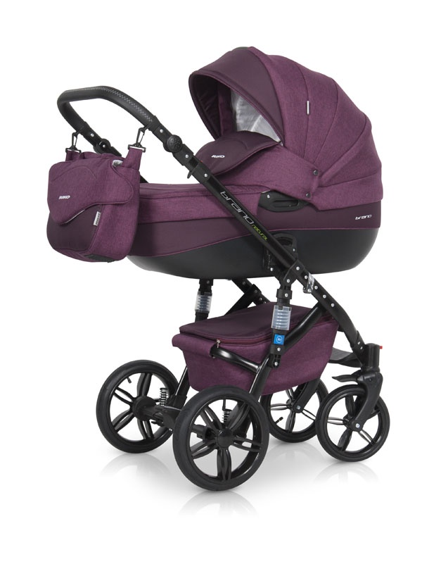 Коляска универсальная Riko BRUNO NATURAL (3-в-1) 03 Purple (бордовый) цена