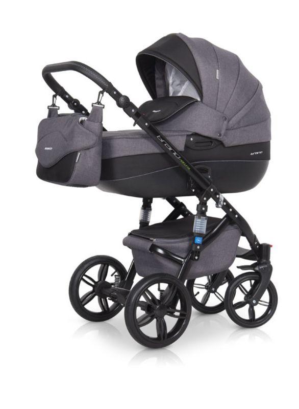 Коляска универсальная Riko BRUNO NATURAL (3-в-1) 07 Carbon (черный) коляска 2 в 1 riko bruno luxe 04 denim