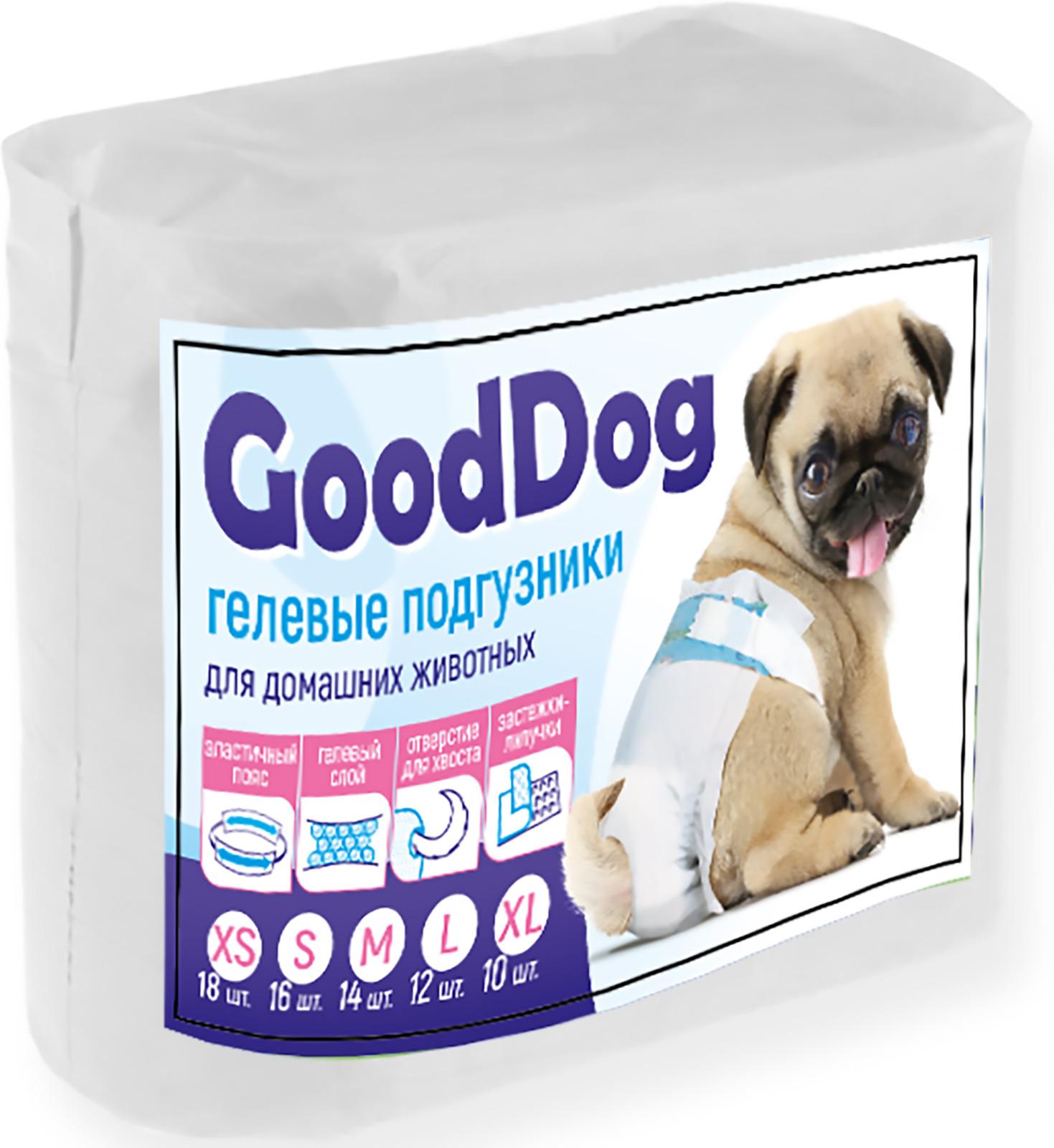 Подгузники для домашних животных Good Dog 7751, размер M (6-17 кг), 14 шт подгузники для взрослых id размер m 30шт
