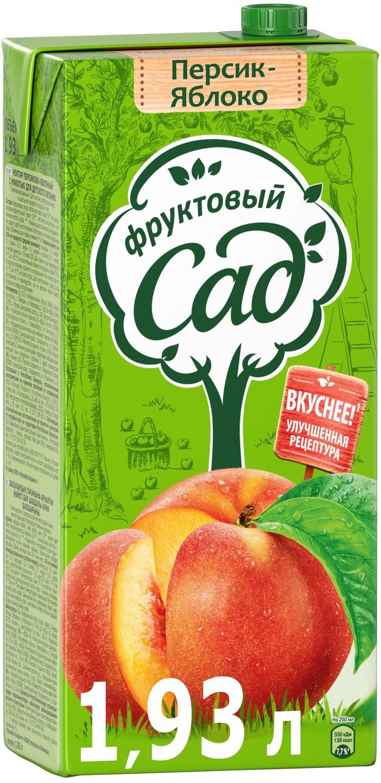 Фруктовый Сад Персик-Яблоко нектар с мякотью 1,93 л фруктовый сад яблоко нектар 0 2 л