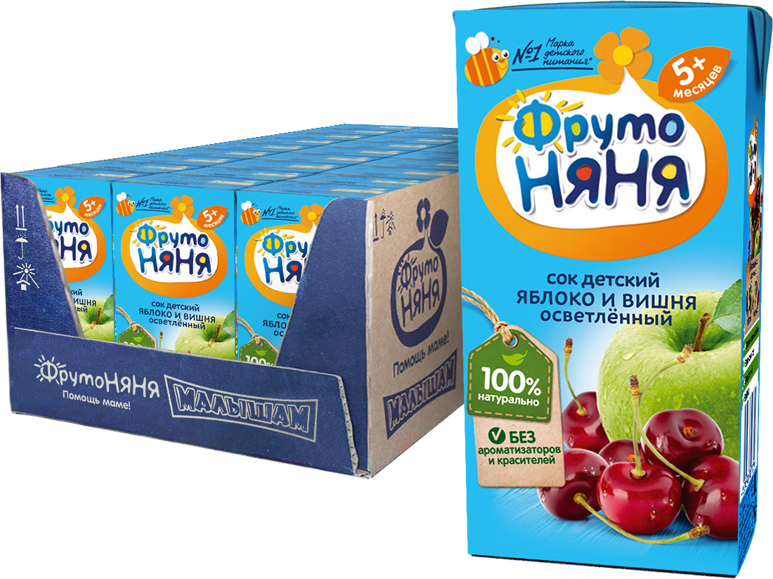 ФрутоНяня сок из яблок и вишни с 5 месяцев, 27 шт по 200 мл