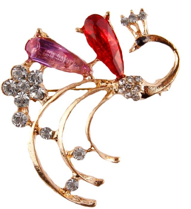 Брошь бижутерная Антик Хобби Жар-птица, Бижутерный сплав, Кристаллы, золотой, белый, черный, красный, розовый брошь птица