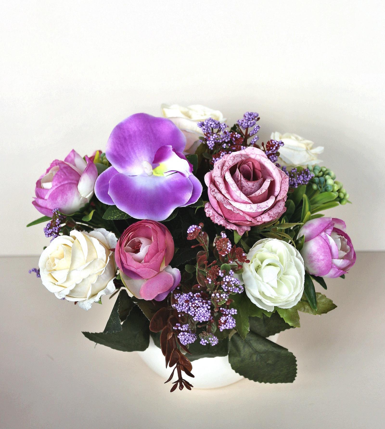 Искусственные цветы 403218, сиреневый emo 02 композиция из натуральных орхидей