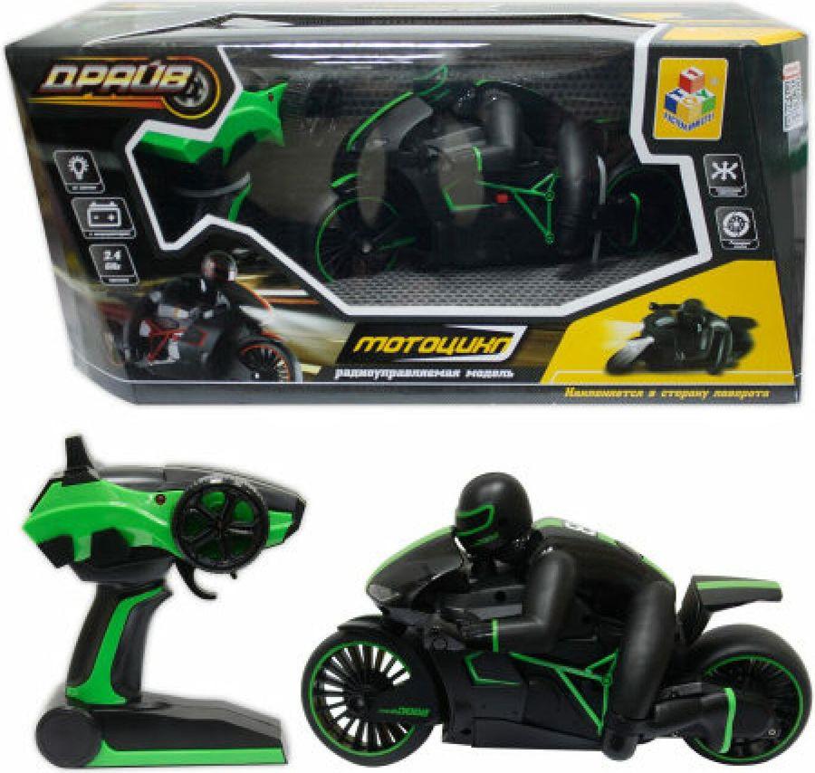 Мотоцикл радиоуправляемый 1TOY Драйв, Т10954, зеленый hot wheels мотоцикл с гонщиком цвет черный зеленый