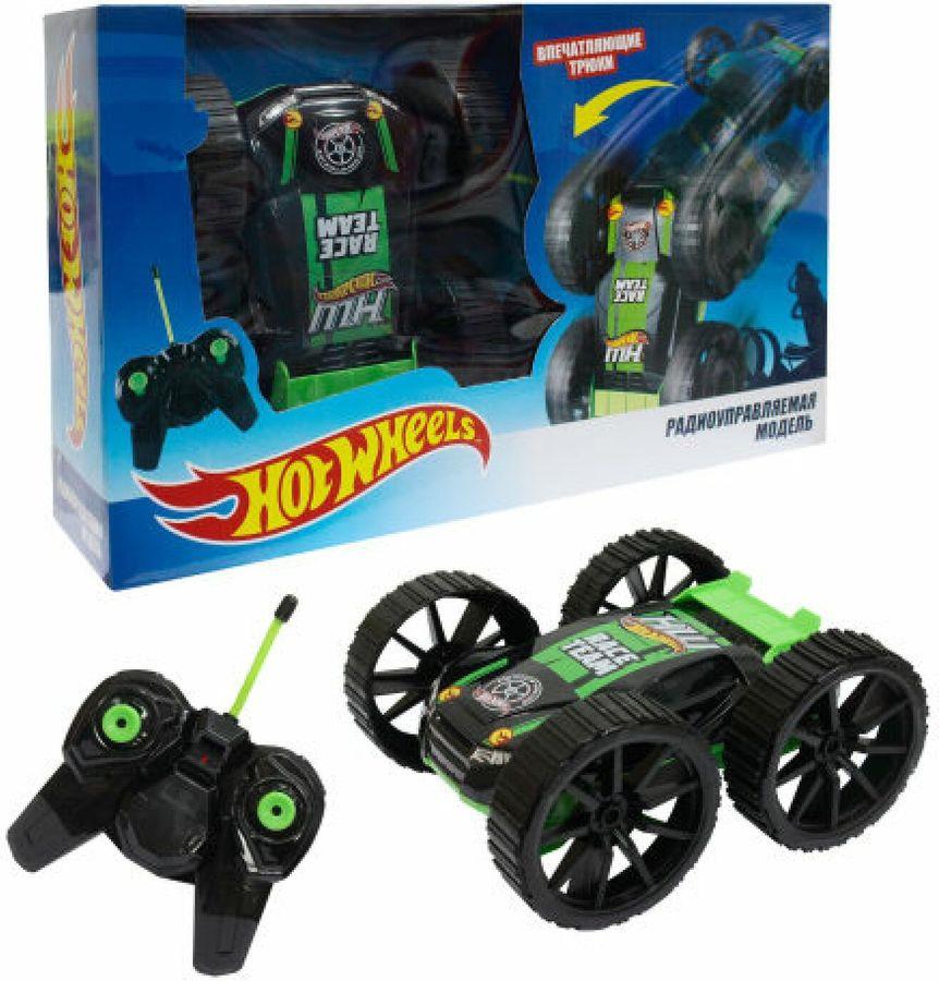 Машина радиоуправляемая 1TOY Hot Wheels, перевертыш, Т10978, черный, зеленый hot wheels мотоцикл с гонщиком цвет черный зеленый