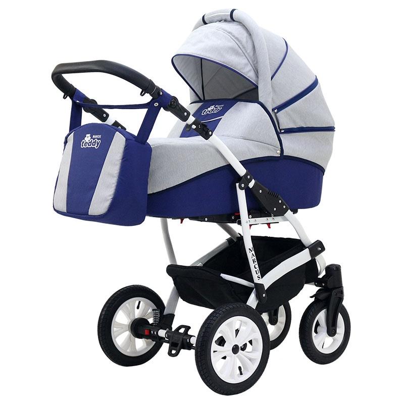 Коляска-люлька BartPlast Коляска MARCUS LUX (BartPlast) 02 серый-синий коляска прогулочная teddy bartplast kacper lux pc серый графит 10