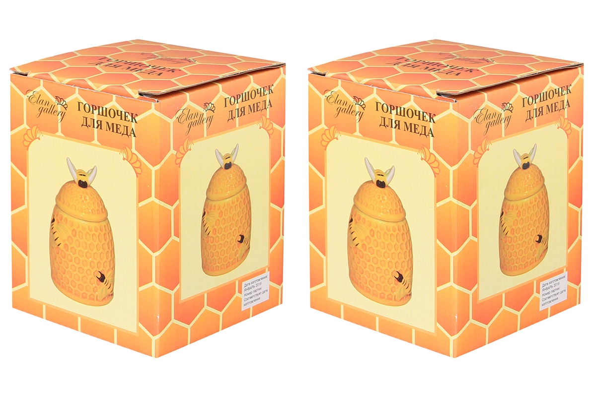 Горшочек для меда 9х9х13 см 300 мл Elan Gallery Пчелки на сотах (2 шт.)
