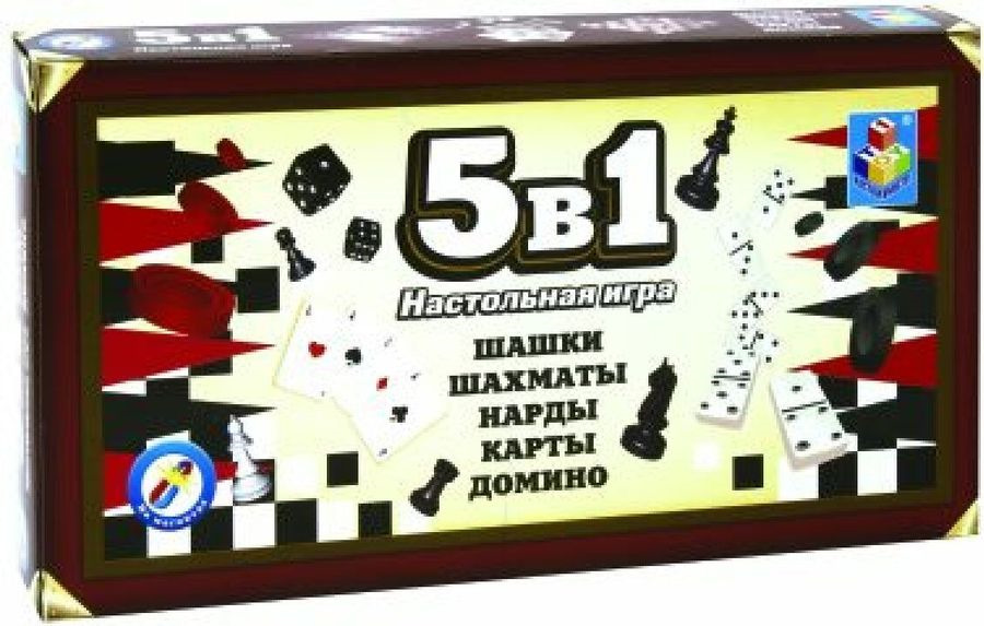 Настольная игра 1TOY Шашки, шахматы, нарды, карты, домино, 5 в 1, на магните, Т12060