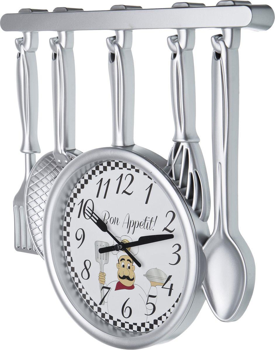 Настенные часы Lefard Chef Kitchen, 220-258, серебристый, 34 х 32 см настенные часы lefard 764 018 электронные серебристый диаметр 48 см